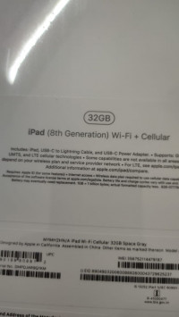 Apple  Ipad 8th Gen Wifi and cellular