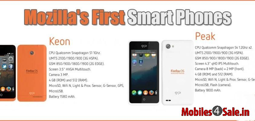 Mozilla's Firefox OS operated smartphones Keon and Peak ...