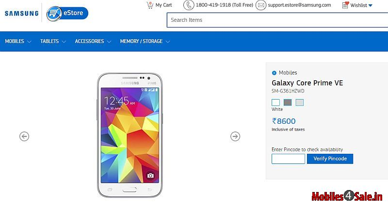 Samsung Galaxy Core Prime Ve Listing