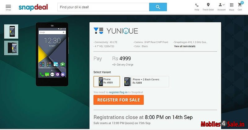 Yu Yunique On Snapdeal